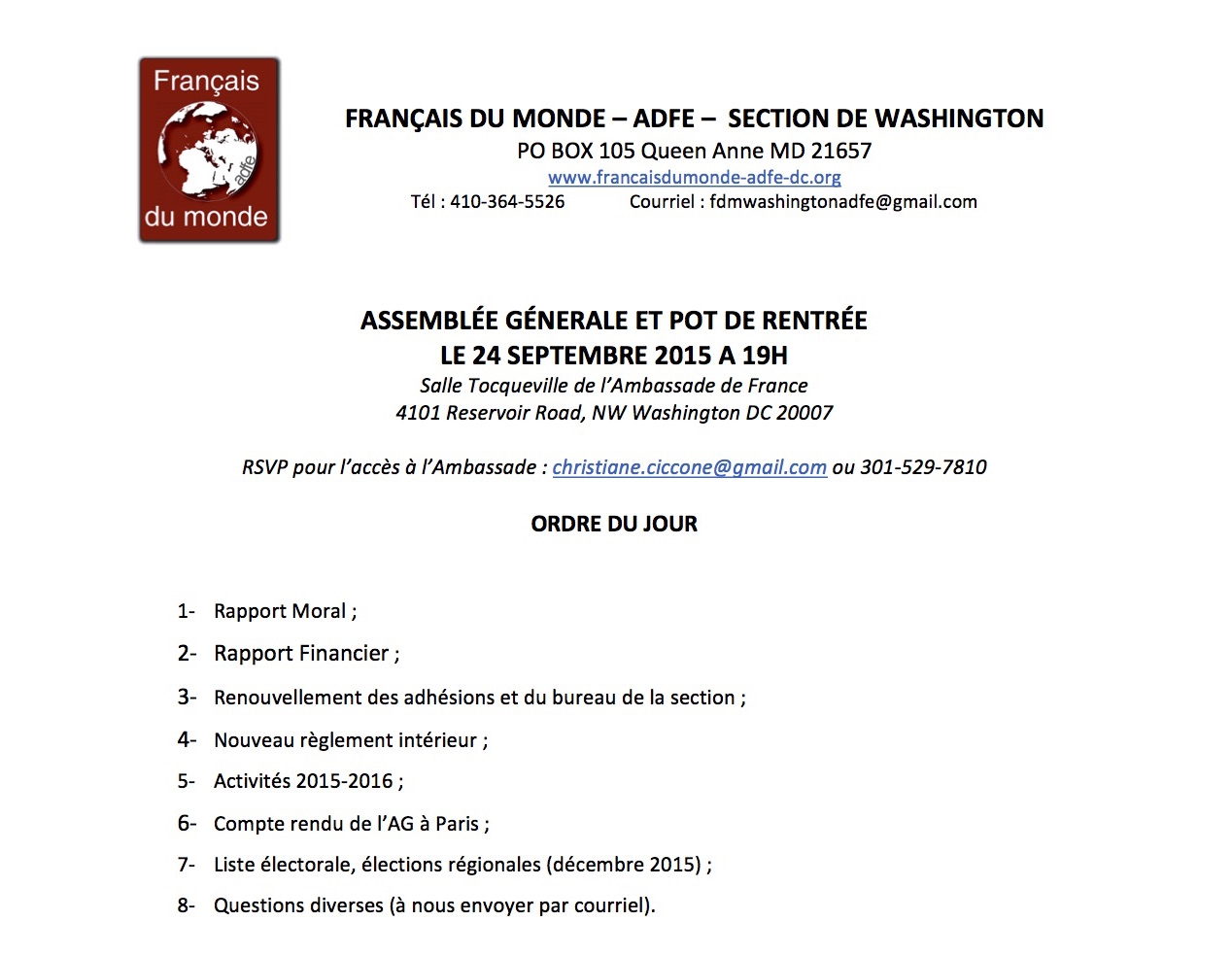 Assemblee Generale du 24 septembre 2015