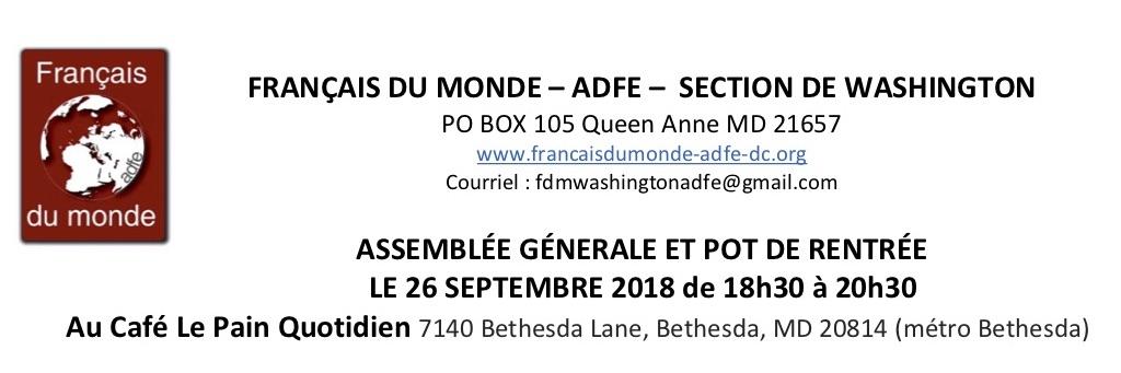 Assemblée Générale du 26 septembre 2018